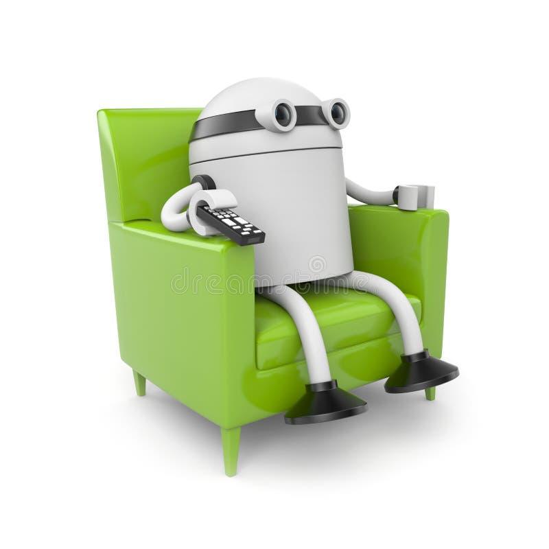 отдыхая наблюдать tv робота бесплатная иллюстрация