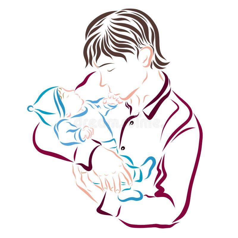 Отец держит младенца в его оружиях и целует его предложение руки бесплатная иллюстрация