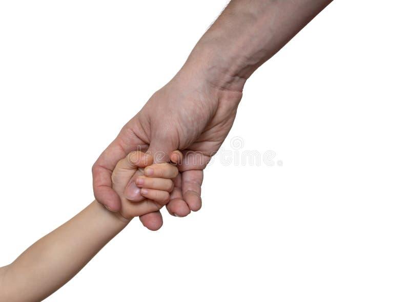 Отец держит руку его ребенка белизна изолированная предпосылкой стоковые изображения rf