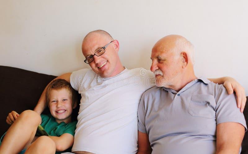 Отец, дед и сын стоковые фотографии rf