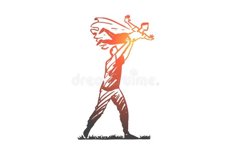 Отец, игра, сын, семья, концепция отцовства Вектор руки вычерченный изолированный иллюстрация вектора