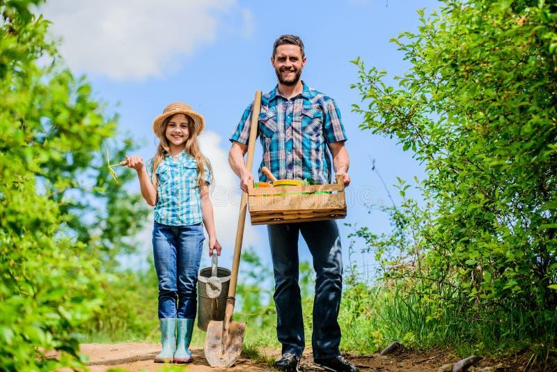 Отец и дочь контрольного списока весны садовничая с лопаткоулавливателем и моча консервной банкой в саде Давно пора, который нужн стоковые фотографии rf