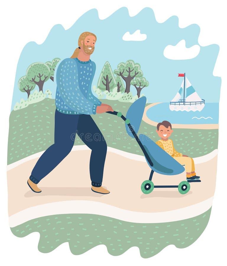 Отец и ребенок в прогулке pram или экипажа в парке бесплатная иллюстрация