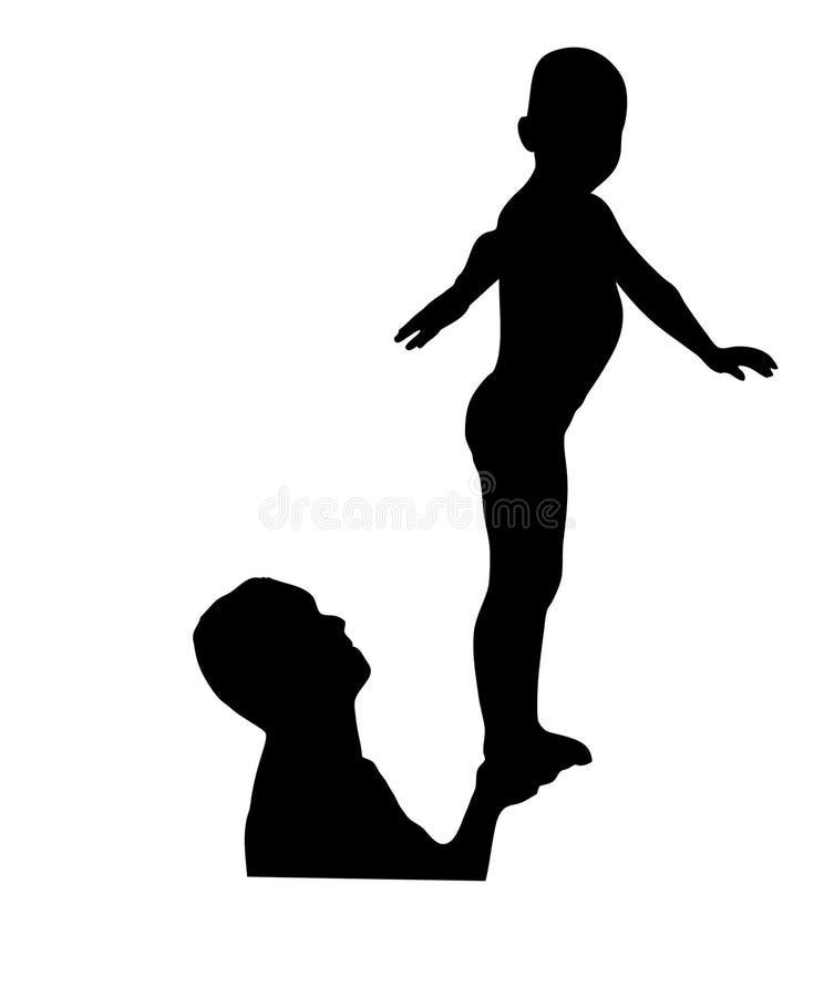 Отец и сынок играя в воде иллюстрация вектора