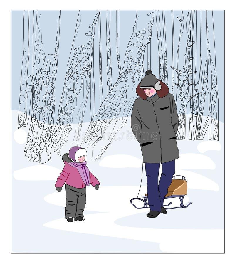 Отец и сынок на прогулке в park иллюстрация вектора