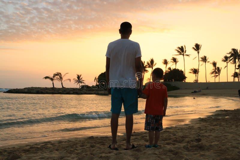 Отец и сынок на пляже стоковые изображения