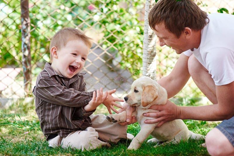 Отец и сын играя с щенком labrador в саде стоковое фото rf
