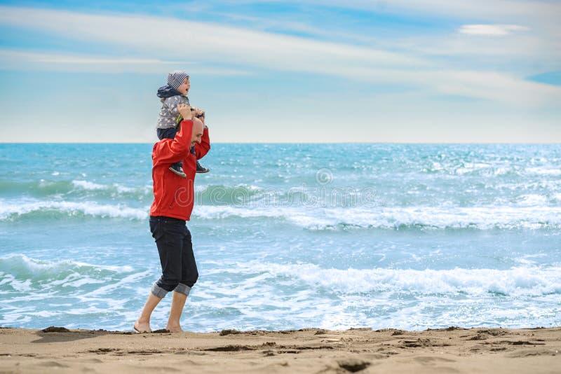 Отец и сын имея потеху на тропическом пляже стоковая фотография