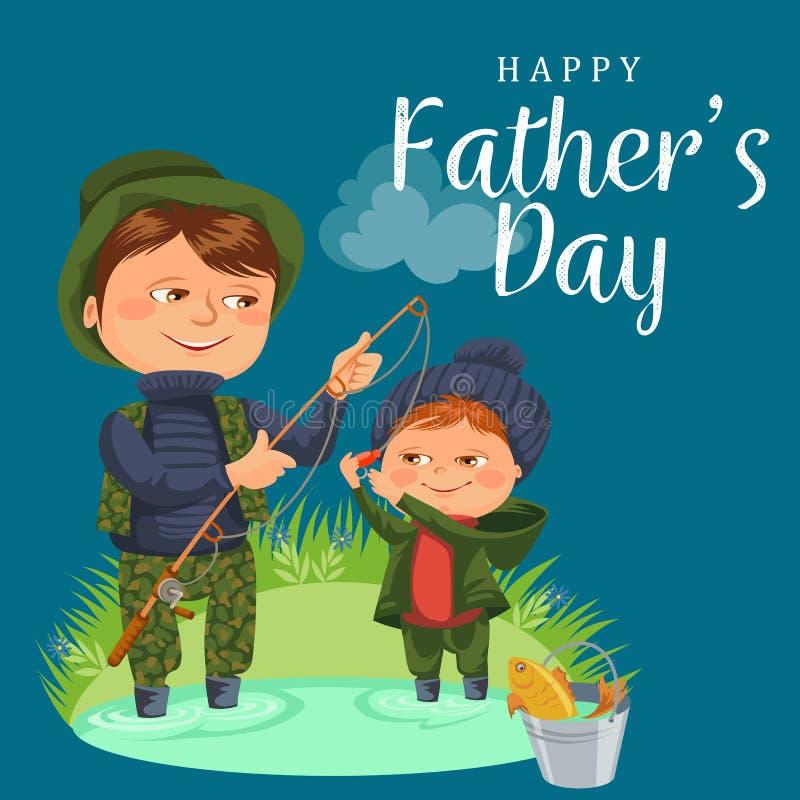 Отец и сын мочат крепежный стержень рыбной ловли и bucket полные рыбы, день отцов каникул детей семьи счастливый, папа с ребенком иллюстрация штока