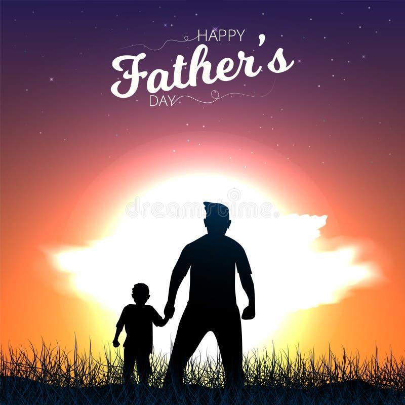 Отец и сын придерживаются руки и наблюдая взгляда захода солнца Счастливая поздравительная открытка каллиграфии Дня отца r иллюстрация вектора