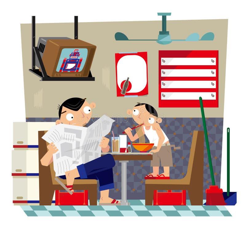 Отец и сын принимая еду внутри небольшого местного Hong Kong-ввели кафе в моду иллюстрация штока