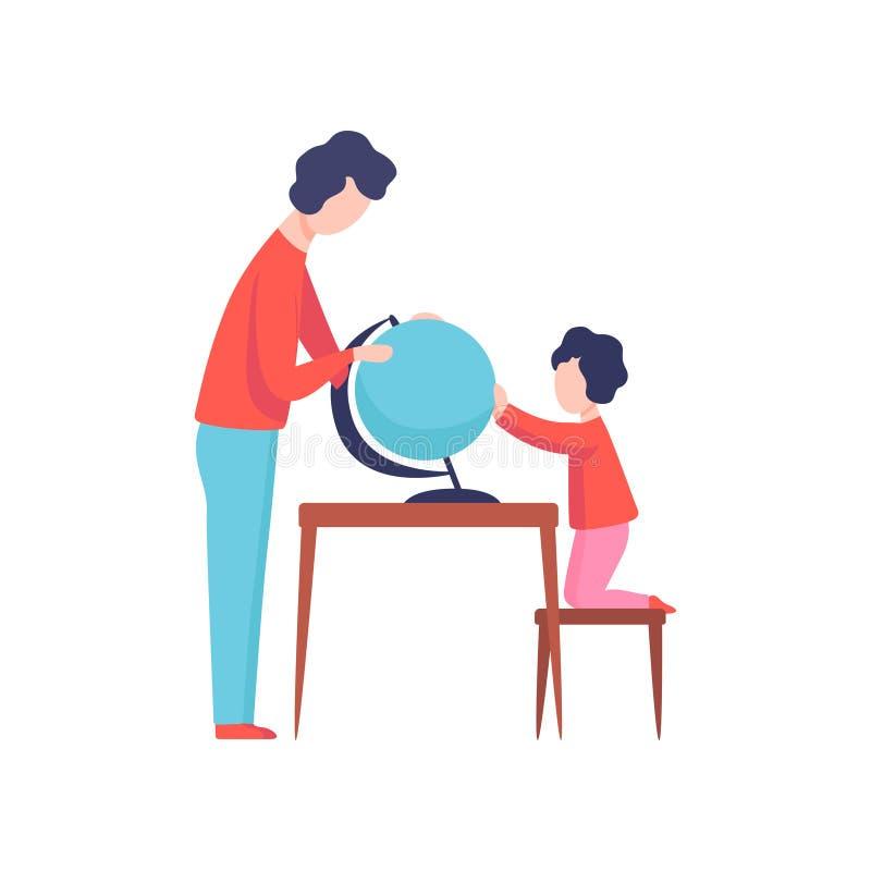 Отец и сын смотря глобус, мальчика изучая землеведение, папу и ребенк тратя иллюстрацию вектора времени совместно бесплатная иллюстрация