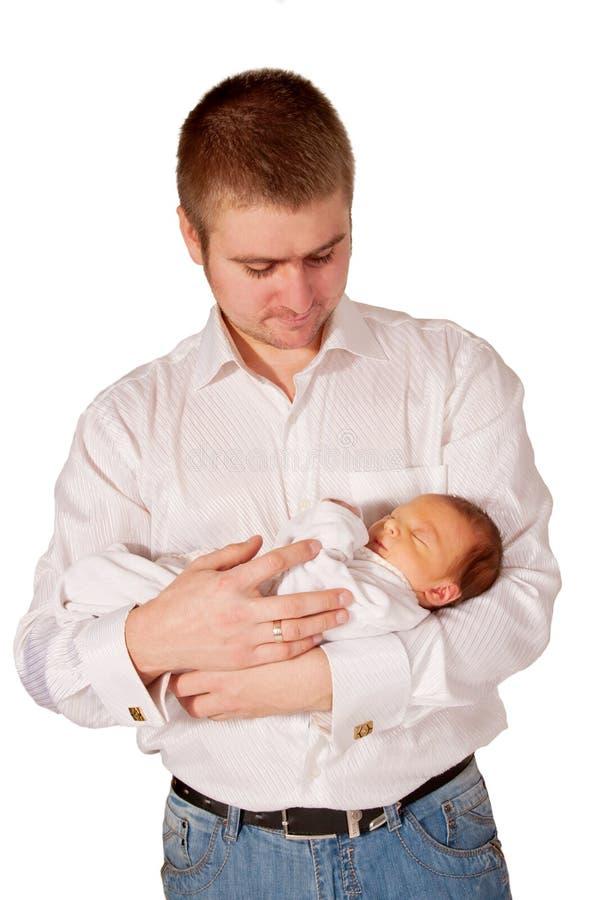 Отец и newborn младенец. стоковая фотография rf