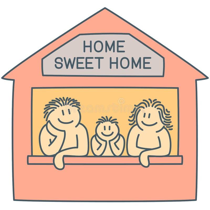 Отец, мать и сын на окне дома - линии векторных график искусства иллюстрация вектора