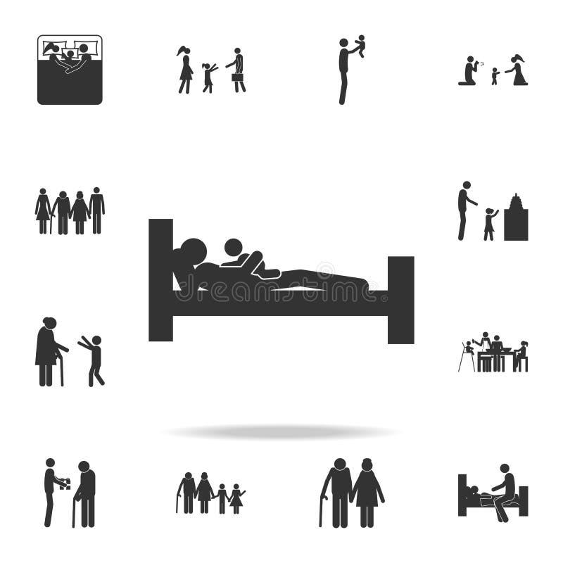 отец падает уснувший с значком ребенка Детальный комплект значков семьи Наградной графический дизайн Один из значков собрания для бесплатная иллюстрация