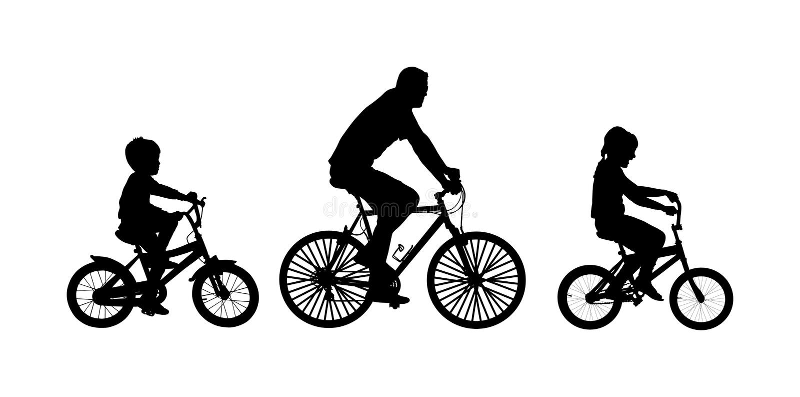 Отец при дети управляя силуэтом вектора велосипеда иллюстрация штока