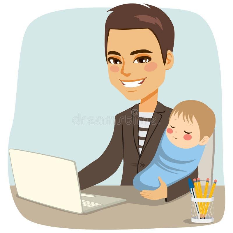 Отец работая с младенцем бесплатная иллюстрация