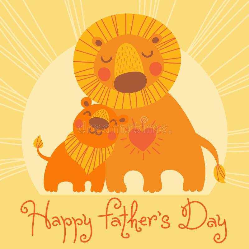 отец счастливый s дня карточки Милый лев и новичок иллюстрация штока