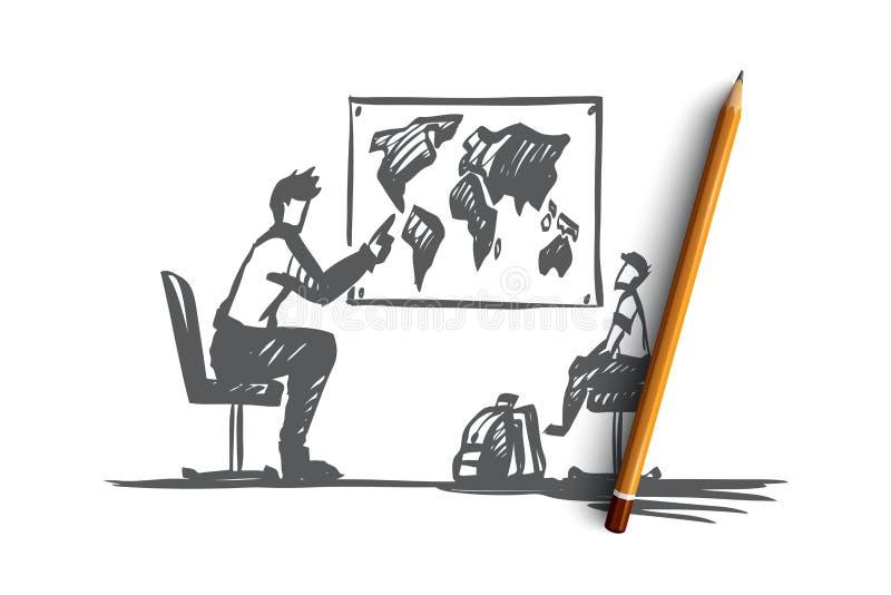 Отец, сын, семья, воспитание, уча концепция Вектор нарисованный рукой изолированный иллюстрация вектора