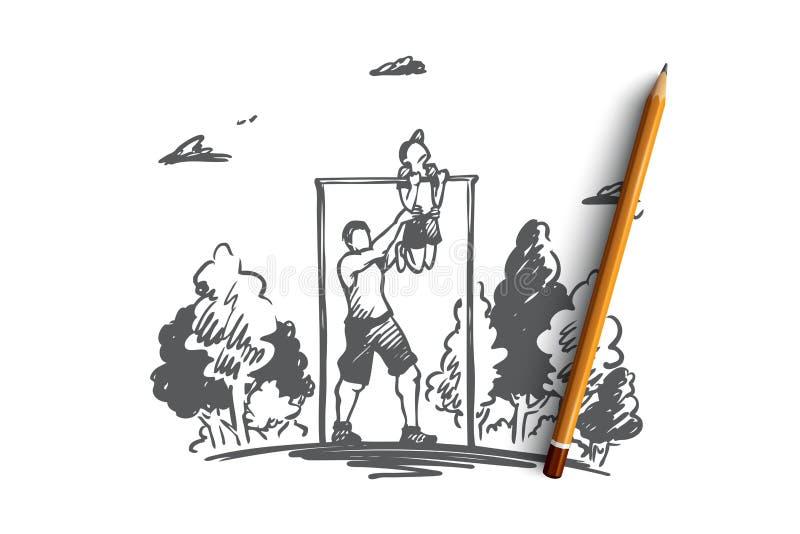 Отец, сын, семья, тренировка, концепция спорта Вектор нарисованный рукой изолированный иллюстрация вектора