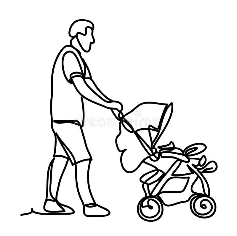 Отец с маленьким сыном в прогулочной коляске Солнечный парк Непрерывная линия чертеж Изолировано на белой предпосылке вектор иллюстрация штока