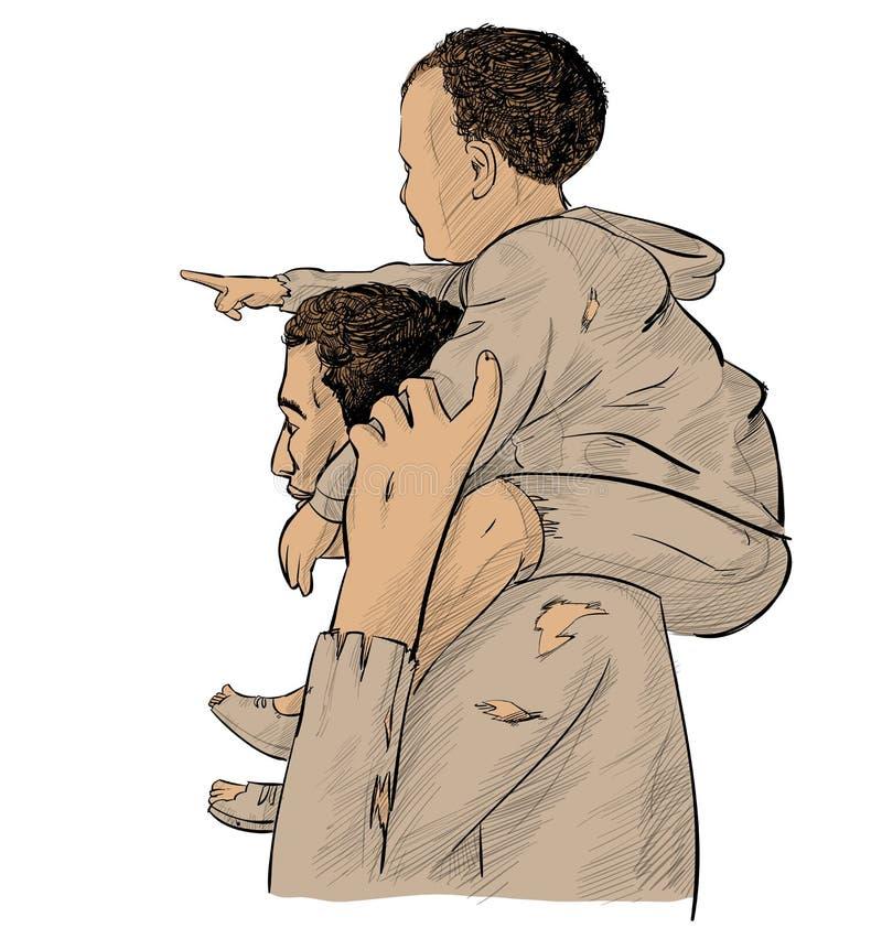 отец с сыном над указывать будущее иллюстрация штока