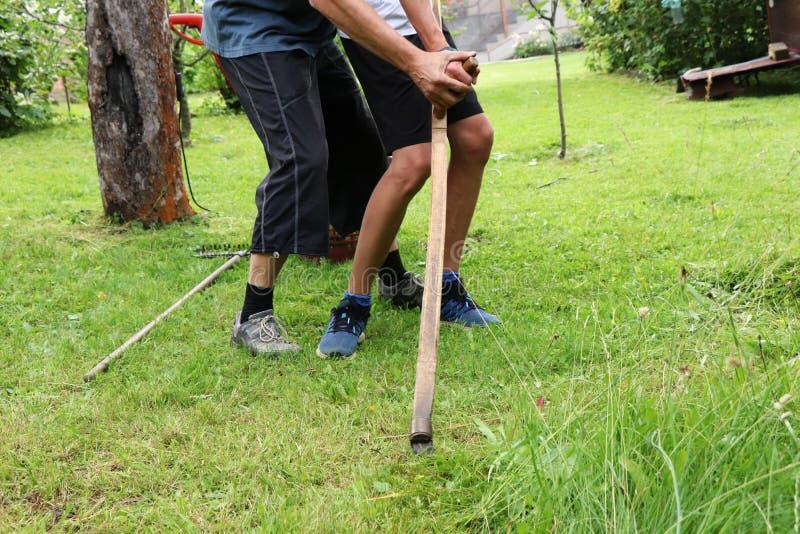 Отец уча ему сыну с косой Человек при ребенок держа инструмент и уча правому движению стоковые фото