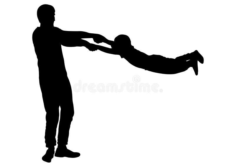 Отец человека поворачивает силуэт сына мальчика кругов, вектор иллюстрация вектора