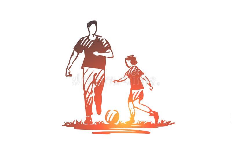 Отец, шарик, спорт, сын, концепция семьи Вектор руки вычерченный изолированный иллюстрация вектора