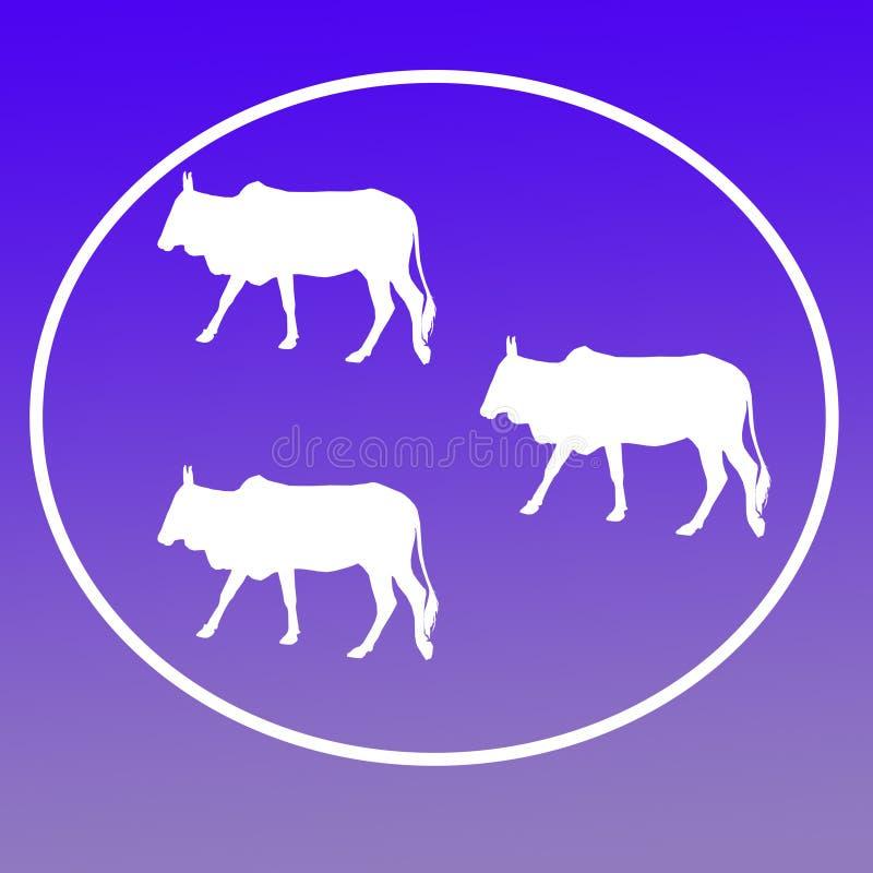Отечественные скотины устрашают графики значка предпосылки логотипа иллюстрация штока