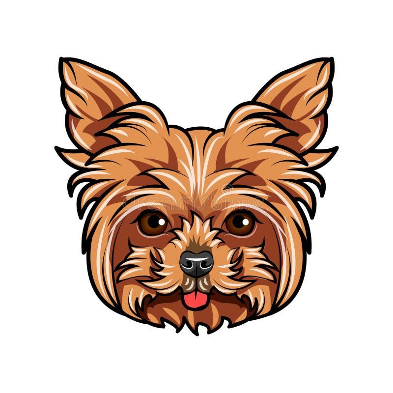 Отечественный портрет собаки йоркширского терьера Милая голова йоркширского терьера на белой предпосылке Голова собаки, сторона,  иллюстрация штока