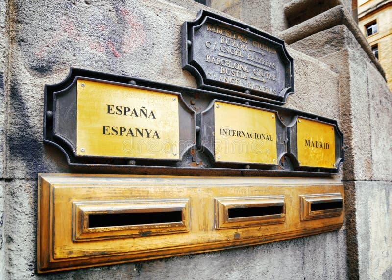Отечественный, international и столица (к Мадриду) вывесите коробки стоковые фотографии rf