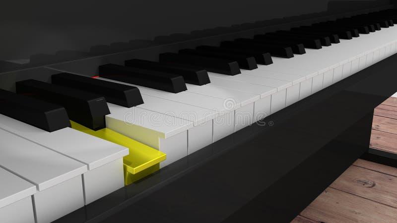 Отжатый крупный план рояля с одним золотым ключом иллюстрация штока