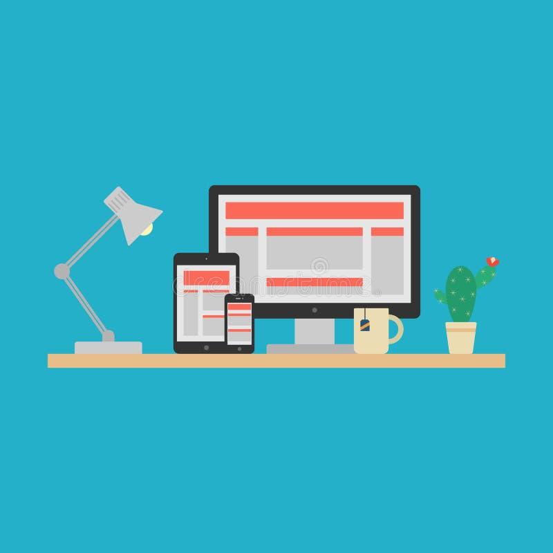 Отзывчивая конструктивная схема веб-дизайна. Вектор бесплатная иллюстрация