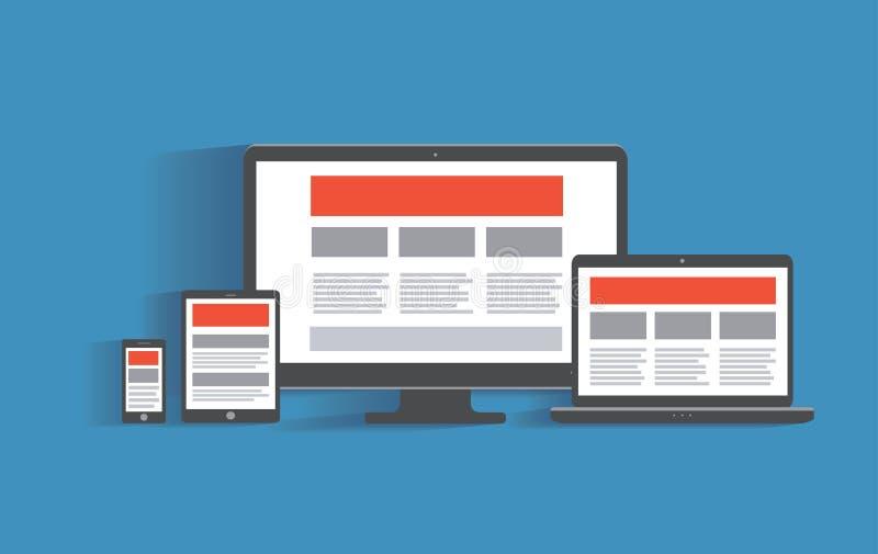 Отзывчивая конструктивная схема веб-дизайна Настольный компьютер бесплатная иллюстрация