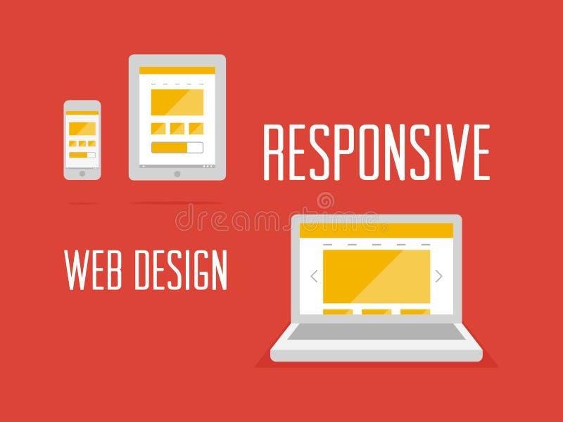 Отзывчивая конструктивная схема веб-дизайна иллюстрация штока