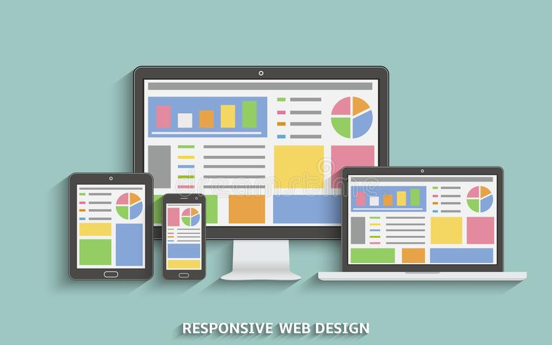 Отзывчивая конструкция сети Приборы технологии веб-дизайна Компьтер-книжка, настольный компьютер, таблетка и мобильный телефон иллюстрация вектора