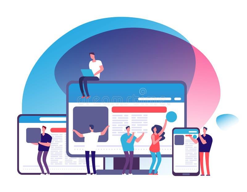 Отзывчивая концепция вектора дизайна Люди создавая отзывчивое веб-приложение с планшетом и телефоном, ноутбуком и компьютером иллюстрация штока