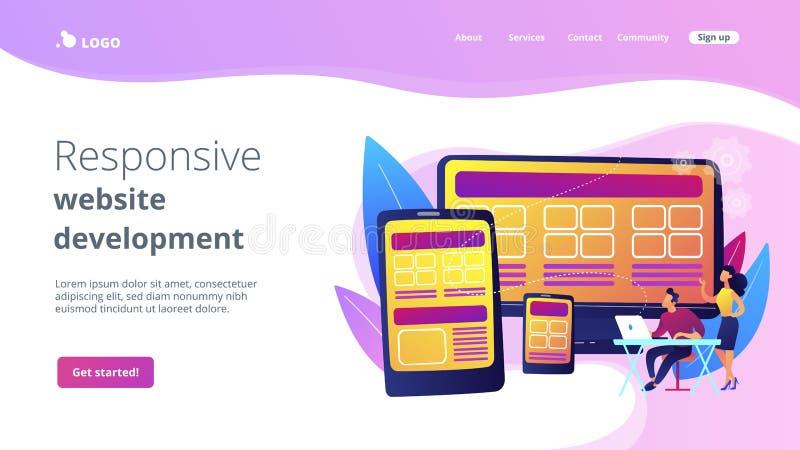 Отзывчивая страница посадки конструктивной схемы веб-дизайна бесплатная иллюстрация