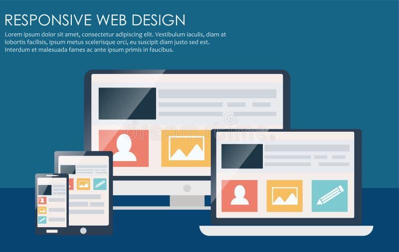Отзывчивый веб-дизайн, включая компьтер-книжку, настольный компьютер, таблетку и мобильный телефон иллюстрация вектора