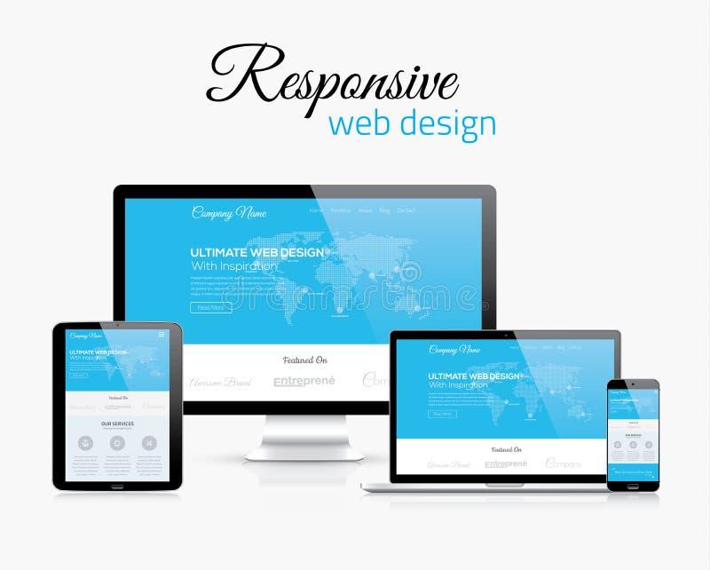 Отзывчивый веб-дизайн в современном плоском изображении концепции стиля вектора