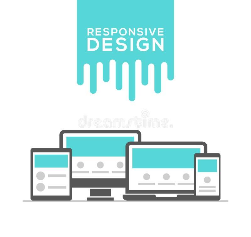 Отзывчивый веб-дизайн в электронных устройствах иллюстрация вектора