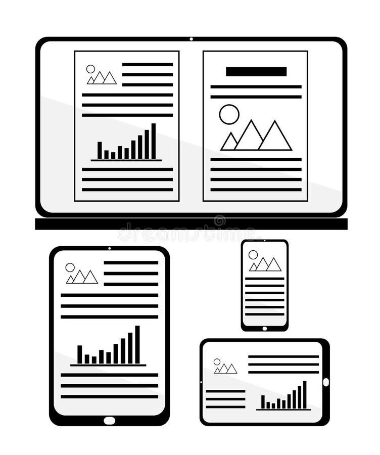 Отзывчивый веб-дизайн для различных приборов иллюстрация штока