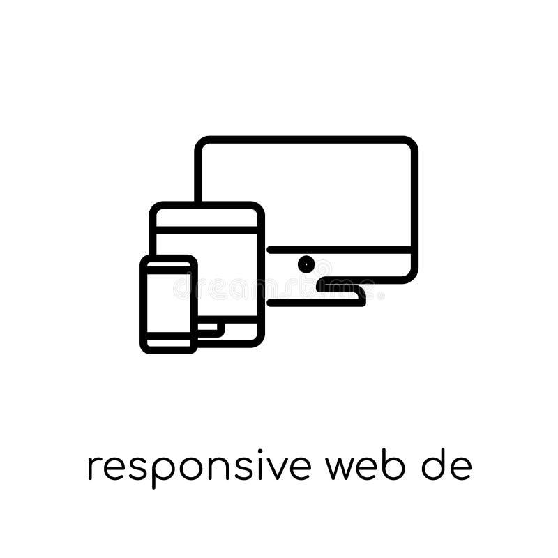 Отзывчивый значок веб-дизайна Ультрамодный современный плоский линейный вектор Res иллюстрация штока