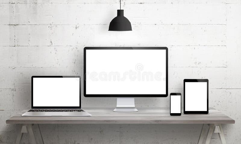 Отзывчивый модель-макет вебсайта иллюстрация штока