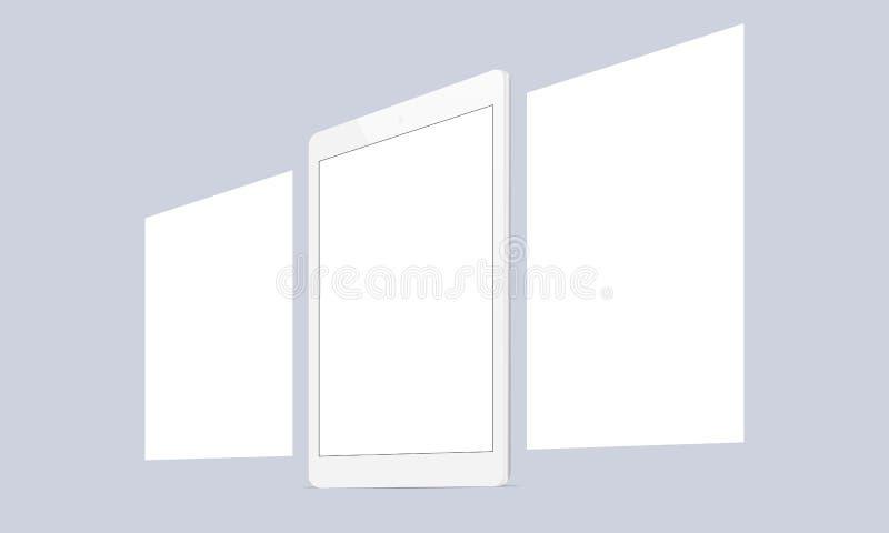 Отзывчивый экран таблетки с пустыми интернет-страницами рамок иллюстрация штока