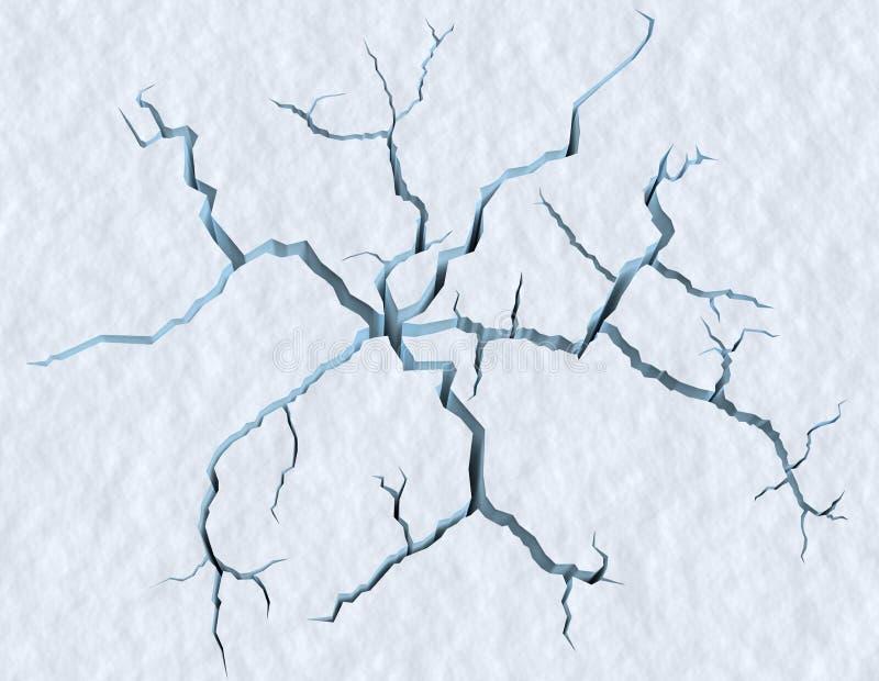 Отказы в поверхности снега треснутого ледника иллюстрация вектора