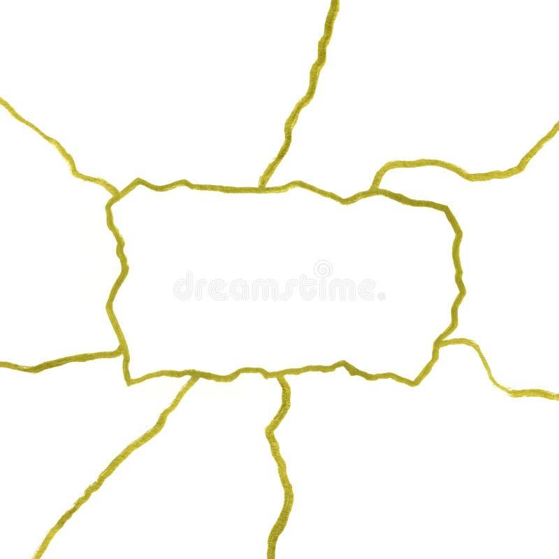 Отказы золота на белом шаблоне знамени предпосылки - иллюстрации концепции kintsugi, золотых crinkles, сломленной текстуре гончар иллюстрация вектора