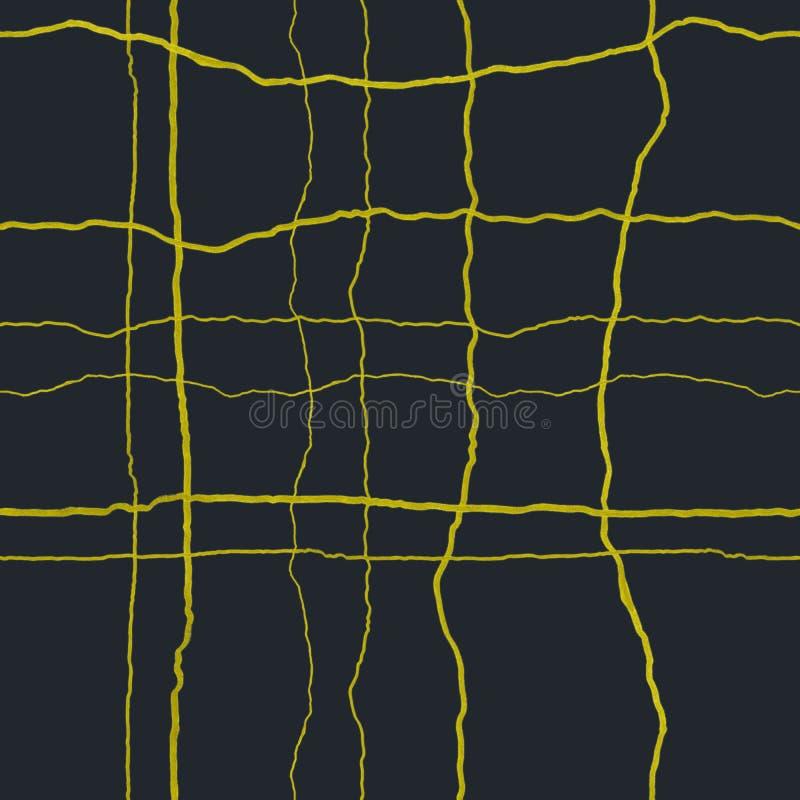 Отказы золота на темносиней безшовной картине - концепции kintsugi, желтых вертикальных и горизонтальных crinkles с текстурой иллюстрация штока