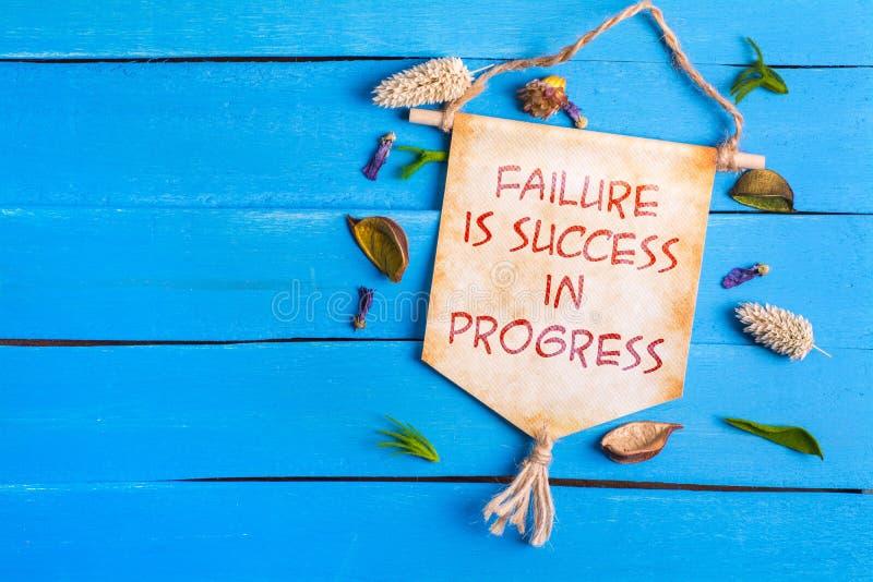 Отказ успех в тексте прогресса на бумажном перечене стоковая фотография rf